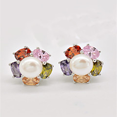 Damskie Kolczyki na sztyft Kolczyki wiszące Multi-kamień Perła Natura luksusowa biżuteria Srebro standardowe Różowa perła Flower Shape
