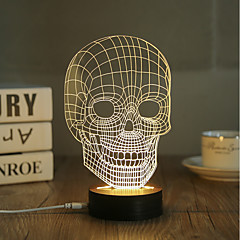 1 Set, Popular Home Acrylic 3D Night Light LED Table Lamp USB Mood Lamp Gifts, Skull