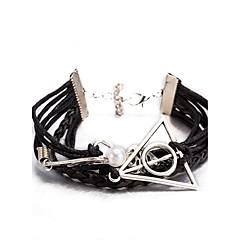 tanie Biżuteria męska-Męskie Damskie Bransoletka Bransoletki ze skóry Bransoletki Wrap Pearl imitacja Geometrické Przyjaźń Wielowarstwowy Korygujący List