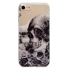 olcso iPhone 5 tokok-Case Kompatibilitás Apple iPhone 7 Plus iPhone 7 IMD Minta Fekete tok Koponya Puha TPU mert iPhone 7 Plus iPhone 7 iPhone 6s Plus iPhone