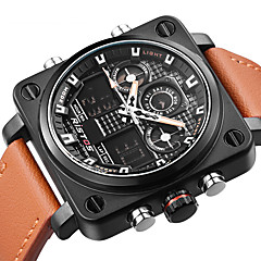 Men's Fashion Watch Wrist watch Unique Creative Watch Japanese Quartz Calendar Dual Time Zones Genuine Leather Band Luxury Casual Cool