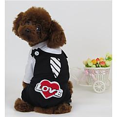 お買い得  犬用ウェア&アクセサリー-犬 ハーネス ジャンプスーツ 犬用ウェア カジュアル/普段着 ハート レッド ホワイト-ブラック コスチューム ペット用