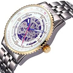 Męskie Damskie Sportowy Szkieletowy zegarek mechaniczny Japoński Nakręcanie automatyczne Kalendarz Chronograf Wodoszczelny Grawerowane