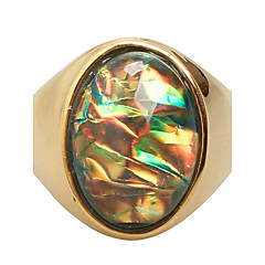お買い得  指輪-女性用 ステートメントリング / 指輪  -  チタン鋼 ファッション 7 / 8 / 9 パープル / イエロー 用途 日常 / カジュアル