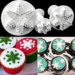 3 stuks sneeuwvlok taartvorm reliëfvorm