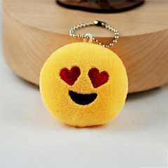 New Arrival Cute Emoji Heart Eyes Face Key Chain Plush Toy Gift Bag Pendant