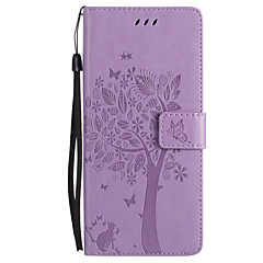 Недорогие Чехлы и кейсы для Galaxy Note 5-Кейс для Назначение SSamsung Galaxy Note 8 Note 5 Бумажник для карт Кошелек со стендом Флип Рельефный Чехол Кот Бабочка дерево Твердый