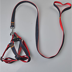 Dog Harness Leash Safety Solid Terylene Black Red