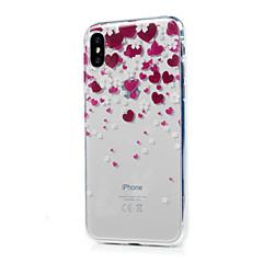 Назначение iPhone X iPhone 8 iPhone 8 Plus Чехлы панели Ультратонкий Прозрачный С узором Задняя крышка Кейс для С сердцем Мягкий