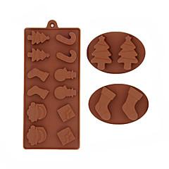 お買い得  ベイキング用品&ガジェット-雪だるまクリスマスツリーチョコレートシリコーンクッキー金型フォンダンケーキ装飾