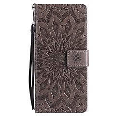 Недорогие Чехлы и кейсы для Galaxy Note 5-Кейс для Назначение SSamsung Galaxy Note 8 Note 5 Бумажник для карт Кошелек со стендом Флип Рельефный Чехол Цветы Твердый Кожа PU для