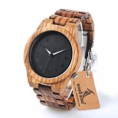 preiswerte Herrenuhren-Herrn Armbanduhr Quartz Wasserdicht Chronograph Holz Band Analog Charme Luxus Freizeit Braun - Schwarz