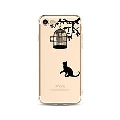 Недорогие Кейсы для iPhone X-Кейс для Назначение Apple iPhone X / iPhone 8 Прозрачный / С узором Кейс на заднюю панель Кот / Мультипликация Мягкий ТПУ для iPhone X / iPhone 8 Pluss / iPhone 8