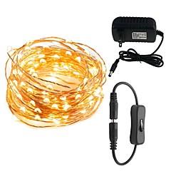 preiswerte LED Lichtstreifen-10m Leuchtgirlanden 100 LEDs Warmes Weiß / Weiß / Rot 100-240 V 1set / IP65