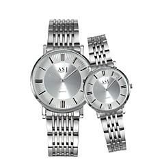 お買い得  メンズ腕時計-ASJ カップル用 リストウォッチ 日本産 クォーツ 30 m カジュアルウォッチ ステンレス バンド ハンズ チャーム ファッション シルバー - ゴールド / ホワイト ホワイト / シルバー