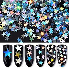 6box diferentes tamaños de plata cinco lentejuelas estrella punteada láser lentejuelas de colores decoraciones de uñas