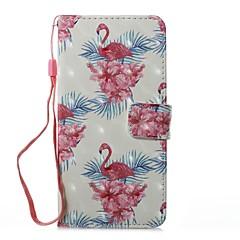 Кейс для Назначение Huawei Кошелек Бумажник для карт со стендом Флип С узором Магнитный Чехол Фламинго Твердый Искусственная кожа для
