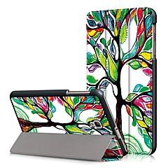 お買い得  タブレット用ケース-ケース 用途 Samsung Galaxy フルボディーケース タブレットケース 木 ハード PUレザー のために Tab A 8.0 (2017)