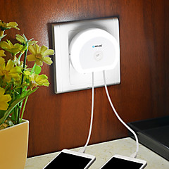 Brelong Led Night Light with Dual Usb (5v) Plug&Light Switch Sensor Eu/Us 110-240V White
