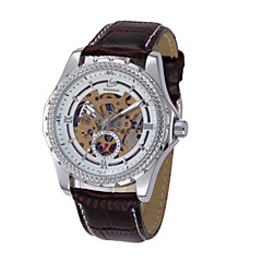 お買い得  メンズ腕時計-男性用 機械式時計 自動巻き ブラック / ブラウン 30 m 耐水 透かし加工 ハンズ ブラック ブラック / シルバー ホワイト / シルバー