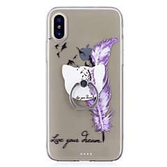 お買い得  iPhone 5S/SE ケース-ケース 用途 Apple iPhone X iPhone 8 バンカーリング クリア パターン バックカバー 羽毛 ソフト TPU のために iPhone X iPhone 8 Plus iPhone 8 iPhone 7 Plus iPhone 7 iPhone 6s