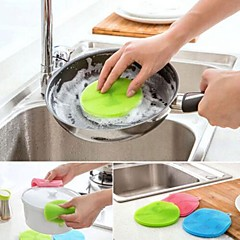 お買い得  キッチン清掃用品-便利な多目的抗菌シリコーンスポンジ洗浄料理キッチンランダムな色