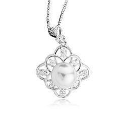 preiswerte Halsketten-Damen Perle Anhängerketten - Perle, Sterling Silber, Künstliche Perle Simple Style, Elegant Silber, Rotgold Modische Halsketten Schmuck Für Verlobung, Party / Gold Pearl