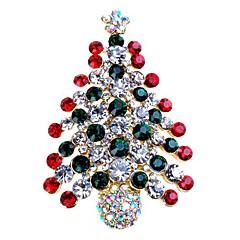 Dames Broches Bergkristal Eenvoudig Zoet Strass Legering Boom van leven Sieraden Voor Kerstmis