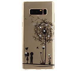 billige Galaxy Note 3 Etuier-Etui Til Samsung Galaxy Note 8 Rhinsten Ultratyndt Transparent Mønster Bagcover Mælkebøtte Blødt TPU for Note 8 Note 5 Edge Note 5 Note 4