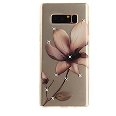 billige Galaxy Note 3 Etuier-Etui Til Samsung Galaxy Note 8 Rhinsten Ultratyndt Transparent Mønster Bagcover Blomst Blødt TPU for Note 8 Note 5 Edge Note 5 Note 4