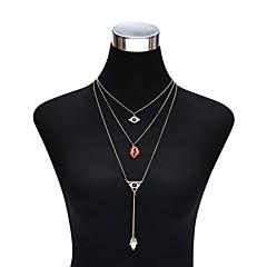 Жен. Слоистые ожерелья Геометрической формы Хрусталь Сплав Массивные украшения Многослойный Бижутерия Назначение Для вечеринок