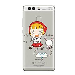 Кейс для Назначение Huawei P9 P10 Прозрачный С узором Задняя крышка Прозрачный Соблазнительная девушка Мультипликация Мягкий TPU для