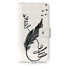 Недорогие Кейсы для iPhone 7 Plus-Кейс для Назначение Apple iPhone X iPhone 8 Бумажник для карт Кошелек со стендом Флип С узором Чехол  Перья Твердый Кожа PU для iPhone X