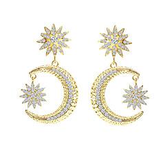 preiswerte Ohrringe-Damen Tropfen-Ohrringe - Sonne, MOON, Stern Personalisiert, Luxus, Retro Gold / Silber Für Weihnachten Geschenk Zeremonie