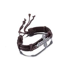 Недорогие Браслеты-Муж. Жен. Wrap Браслеты Кожаные браслеты Кожа Серебрянное покрытие Бижутерия Назначение Повседневные