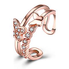 Жен. Классические кольца Цирконий Мода Открытые Медь Серебрянное покрытие Бабочка Бижутерия Назначение Для вечеринок