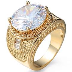 billige Ringe-Herre Dame Forlovelsesring Knoringe Kvadratisk Zirconium Luksus Klassisk Elegant Mode Zirkonium Plastik Rund Kostume smykker Bryllup Fest