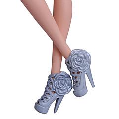 billiga Barbiekläder-Prinsessa Skor För Barbiedocka Svart pvc Skor För Flicka Dockleksak