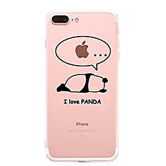 Кейс для Назначение Apple iPhone X iPhone 8 iPhone 8 Plus Ультратонкий Прозрачный С узором Задняя крышка Мультипликация Панда Мягкий TPU