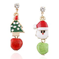 preiswerte Ohrringe-Damen Nicht übereinstimmend Unterschiedliche Ohrringe - Strass überdimensional Grün Für Weihnachten / Bühne