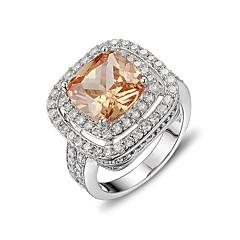 voordelige Ringen-Dames Verlovingsring Kubieke Zirkonia Luxe Sieraden Elegant Sterling zilver Zirkonia Rechthoekige vorm Sieraden Voor Ceremonie AvondFeest