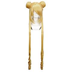 Cosplay Pruiken Sailor Moon Sailor Moon Goud Lang Anime Cosplay Pruiken 100 CM Hittebestendige vezel Vrouwelijk