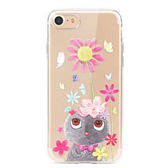 Кейс для Назначение Apple iPhone X iPhone 8 iPhone 8 Plus Ультратонкий Прозрачный С узором Задняя крышка Бабочка Мультипликация Цветы