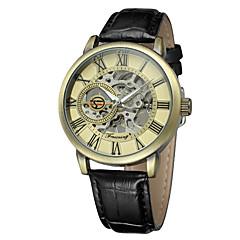 preiswerte Tolle Angebote auf Uhren-FORSINING Herrn Armbanduhr Automatikaufzug 30 m Armbanduhren für den Alltag Cool Leder Band Analog Freizeit Modisch Schwarz - Hellblond