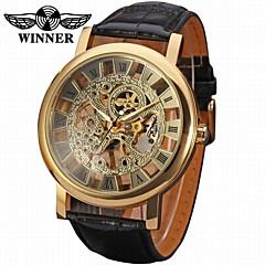 preiswerte Herrenuhren-WINNER Herrn Armbanduhr / Mechanische Uhr Transparentes Ziffernblatt Leder Band Luxus / Retro Schwarz / Edelstahl / Automatikaufzug