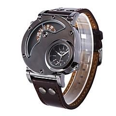 preiswerte Tolle Angebote auf Uhren-Oulm Herrn Armbanduhr Quartz Cool Großes Ziffernblatt Leder Band Analog-Digital Freizeit Modisch Kleideruhr Braun - Braun