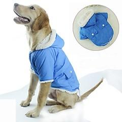 Χαμηλού Κόστους Ρουχισμός για γάτες-Γάτα Σκύλος Παλτά Φούτερ με Κουκούλα Ρούχα για σκύλους Καθημερινά Διατηρείτε Ζεστό Θερμαντικά Chrismas Halloween Μονόχρωμο Πράσινο Μπλε