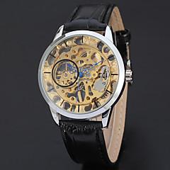 お買い得  メンズ腕時計-WINNER 男性用 リストウォッチ 手巻き式 ブラック 30 m 透かし加工 クール ハンズ ヴィンテージ カジュアル ファッション - ホワイト イエロー ゴールド / シルバー / ステンレス