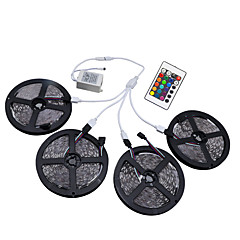 1Set HKV® 20M(4x5m) RGB 3528SMD 1200LED RGB LED Flexible Strip Lights Waterproof With 24Key IR Remote Controller Kit DC 12V