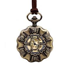 preiswerte Damenuhren-Herrn Damen Taschenuhr Chinesisch Quartz Großes Ziffernblatt Armbanduhren für den Alltag Leder Band Retro Elegant Braun
